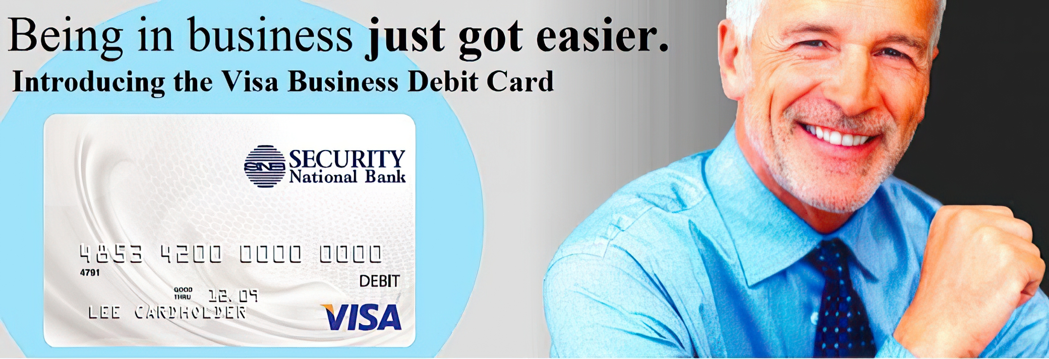 Man with debit card