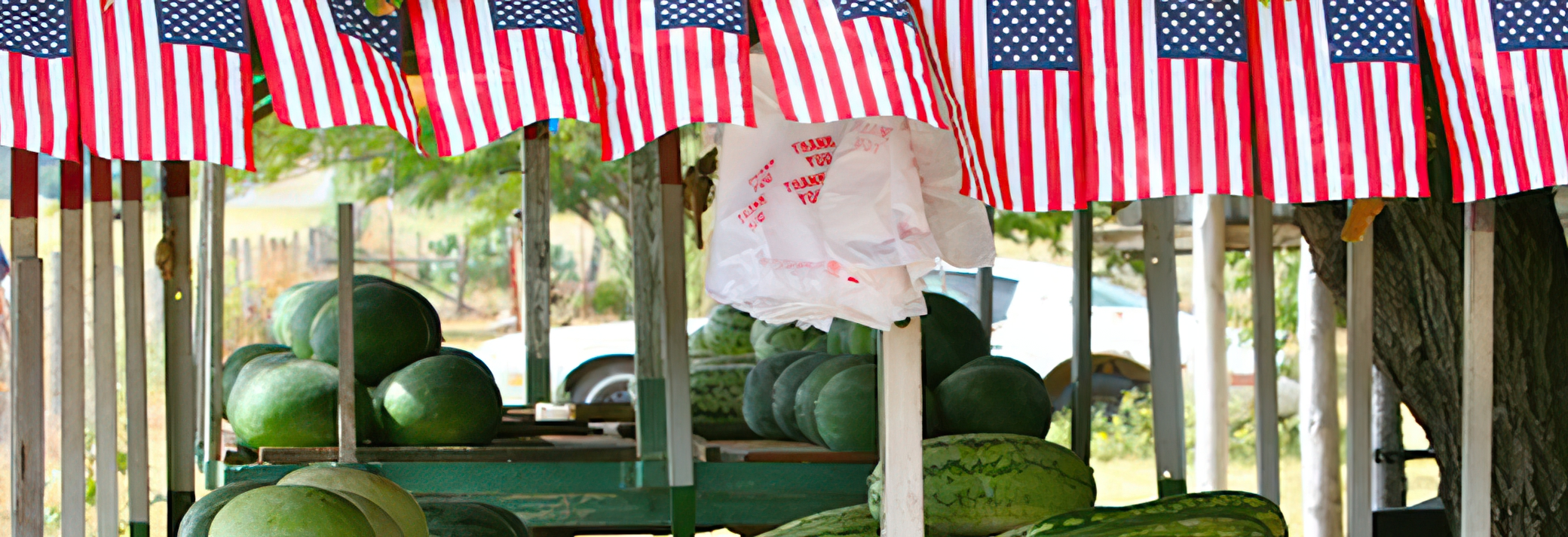 American flags and watermelons